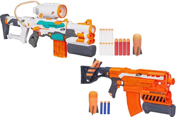 Please go to this page to make a better reference Nerf Modulus vs  RapidStrike. Equipped with a capacity of 10 rounds capacity model banana  were similar to ...